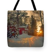 Red House In The Winter Tote Bag