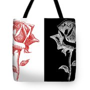 2 Red Rose Drawing Combo Tote Bag