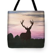 Red Stag At Dusk Tote Bag
