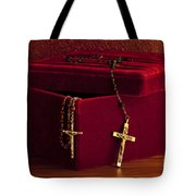 Red Velvet Box With Cross And Rosary Tote Bag