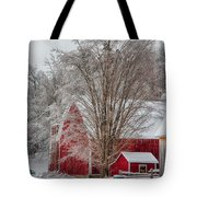 Red Vermont Barn Tote Bag
