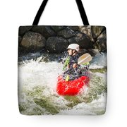 Red Whitewater Kayak Tote Bag