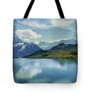 Reflection Of Clouds And Mountain Tote Bag