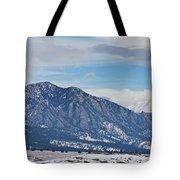 Rocky Mountains Flatirons And Longs Peak Panorama Boulder Tote Bag