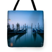 Row Of Gondolas At Sunrise Venice Italy Tote Bag