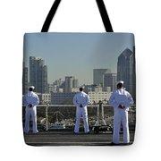 Sailors Man The Rails Aboard Tote Bag