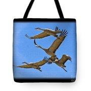 Sandhill Cranes In Flight Tote Bag