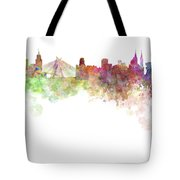 Sao Paulo Skyline In Watercolor On White Background Tote Bag