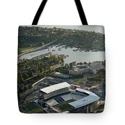 Seattle Skyline With Aerial View Of The Newly Renovated Husky St Tote Bag