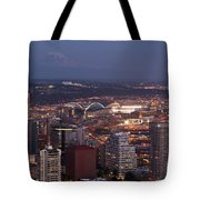 Seattle Skyline With Mount Rainier And Downtown City Lights Tote Bag