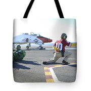 Shooter Signals To The Pilot Of A T-45c Tote Bag