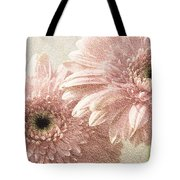 2 Silver Pink Painterly Gerber Daisies Tote Bag