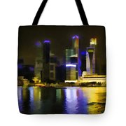 Singapore Skyline As Seen From The Pedestrian Bridge Tote Bag