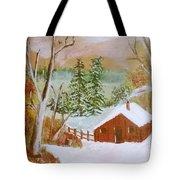 Ski Cabin Tote Bag