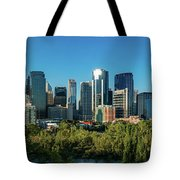 Skylines In A City, Bow River, Calgary Tote Bag
