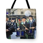 Some Bagpipers Marching In The 2009 New York St. Patrick Day Parade Tote Bag