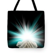 Spiritual Light In Cupped Hands On A Black Background Tote Bag