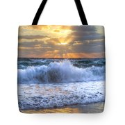 Splash Sunrise Tote Bag by Debra and Dave Vanderlaan