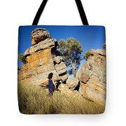 Split Rocks With Woman Tote Bag