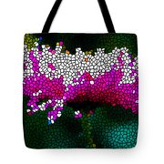 Stained Glass Pink Chrysanthemum Flower Tote Bag