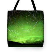 Star Trails And Northern Lights In Night Sky Tote Bag