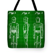 Star Wars C-3po Patent 1979 - Green Tote Bag