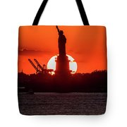 Statue Of Liberty Sunset. Nyc Harbor Tote Bag