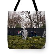 Statues Of Soldiers At A War Memorial Tote Bag