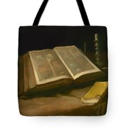 Still Life With Bible Tote Bag