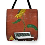 Sunflower And Snow Tote Bag