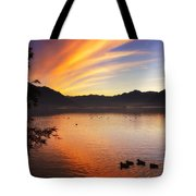 Sunrise Over An Alpine Lake Tote Bag
