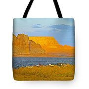 Sunset Glow Over Wahweap Bay In Lake Powell In Glen Canyon National Recreation Area-arizona Tote Bag