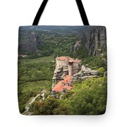The Holy Monastery Of Rousanou Meteora Greece  Tote Bag