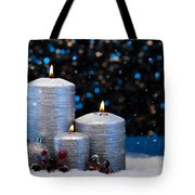 Three Silver Candles In Snow  Tote Bag