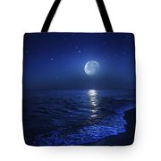 Tranquil Ocean At Night Against Starry Tote Bag