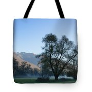 Tree And Mountain Tote Bag