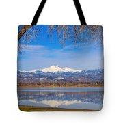 Twin Peaks Longs And Meeker Lake Reflection Tote Bag