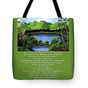 Twin Ponds And 23 Psalm On Green Tote Bag