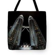 Twin Towers Petronas Kuala Lumpur Malaysia At Night Tote Bag