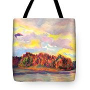View Of Goat Island From Clackamette Park Tote Bag