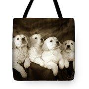 Vintage Festive Puppies Tote Bag
