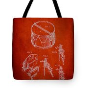 Vintage Snare Drum Patent Drawing From 1889 - Red Tote Bag