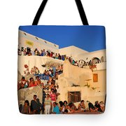 Waiting For The Sunset In Oia Town Tote Bag