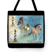 Wild Mustang Horses Outer Banks Lighthouses Nautical Chart Map Art Tote Bag