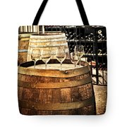 Wine  Glasses And Barrels Tote Bag