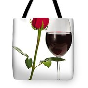 Wine With Red Rose Tote Bag
