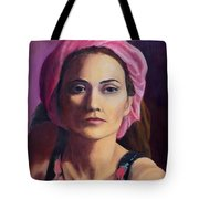 Woman In A Pink Turban Tote Bag