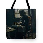 Woman Sewing Tote Bag