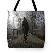 Woman Walking On A Bridge Tote Bag