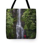 Woman With Umbrella At Wailua Falls Tote Bag